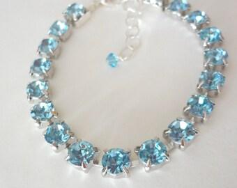 Aquamarine crystal bracelet - Austrian crystals - Tennis Bracelet - Brides bracelet - Something blue - March birthstone - Bridesmaids -