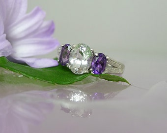 Herkimer Diamond Ring, February Birthstone Ring, Custom Birthstone Ring, Purple Amethyst Ring, February Birthday, Amethyst Jewelry