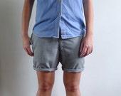 Vintage 70's Mens Preppy Green Gingham Plaid Shorts S