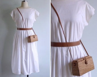 Vintage 80's 'Whipped Cream' Button Back Cotton Day Dress M or L