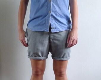 15% Code - MAR15OFF - Vintage 70's Mens Preppy Green Gingham Plaid Shorts S