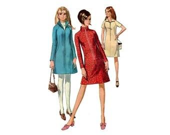 1960s Mod A Line Dress Pattern Stand Up Collar Zipper Front Raglan Long Short Sleeve Vintage Sewing Pattern Simplicity 7248 Bust 31