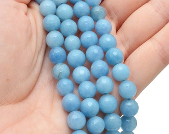 10 (ten) ANGELITE Faceted Sphere Beads 8mm Angelite Light Blue Round Beads - for Jewelry, Bead Crafts, Crystal Art Beading