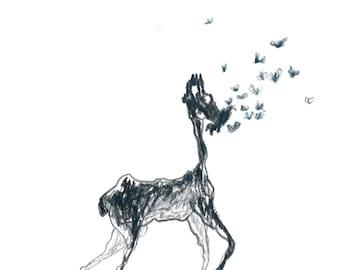 Deer and butterfly art drawing - Eating butterflies - Original artwork charcoal art