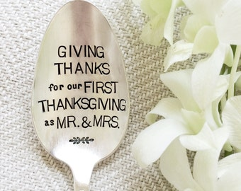 Giving Thanks for our first Thanksgiving as Mr and Mrs. Stamped Serving Spoon. For your Thanksgiving Table. Newlyweds. Wedding Gift.