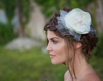 Vintage Bridal Hairpiece, Hair Flower, Ivory, Wedding Accessory, Clip, rhinestone, pearl, crystals - Lane - FA182