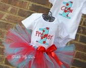 Boy/Girl Twin Silly Dot Party Themed Birthday Outfits, Twin Red and Turquoise Polka Dot Birthday Outfit, Twin Tutu Set