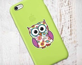 Mini Pink Floral Owl Sticker : Phone Decal Sticker Laptop Decal Cute Owl Bumper Sticker Small Owl Bird Colorful Pink Yellow Blue Orange