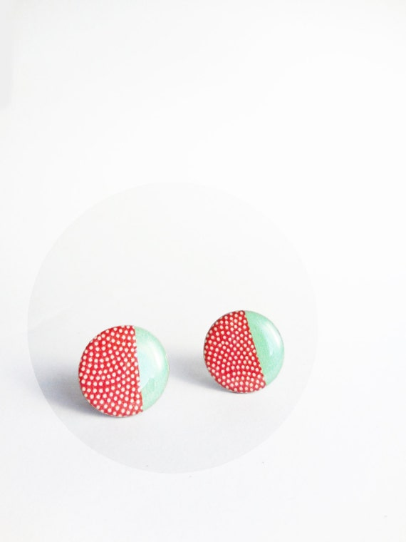 red and mint stud earrings large studs earth 20mm red and mint green post earrings trending jewelry resin ear studs polka dot ear posts