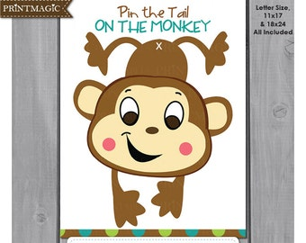 Pin the Tail On the Monkey Printable Party Game - Instant Download - Monkey Party Game - Jungle Party Game- Jungle Birthday Party