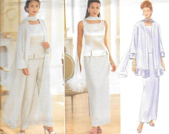 Butterick 5885 Formal Wear Duster Coat/Jacket, Princess Seam Top, Long Straight Skirt, Tapered Pants, Scarf, Size 8-10-12 UNCUT Pattern