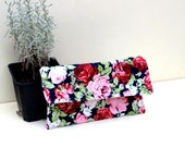 small floral clutch bag, floral make up pouch, fabric floral iphone cover