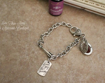 Essential Oils Bracelet | Joy in the Journey | Ecclesiastes 3: 11-12 | Arrow Charm Bracelet | Silver Diffuser Locket | Inspirational Gift