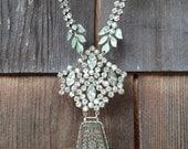 Stunning Rhinestone Assemblage Necklace, Wedding, Little Black Evening Dress