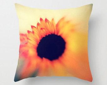 Vibrant Orange Sofa Pillow, Dreamy Flower Accent Pillow for Modern Decor - 2 sizes available
