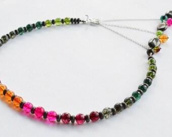 Autumn Colors Adrienne Adelle Signature Necklace - Rainbow Tourmaline, Pyrite & Sterling Silver Asymmetrical Gemstone Statement Necklace