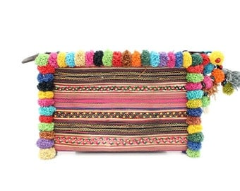 Colorful Pom Pom Clutch With Vintage Embroidered Fabric Handmade Thailand (BG289LP.11)