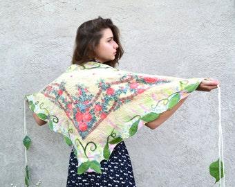 SALE 15% !!! Felt Scarf white, Nuno felted shawl, felted scarf, nuno felt scarf, Russian shawl, floral scarf, OOAK, felted art