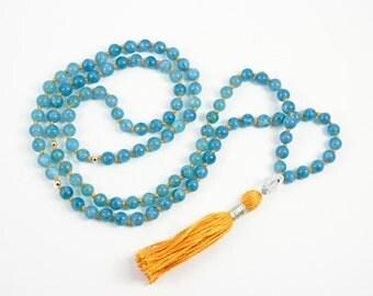 Aquamarine Mala Necklace - Prayer Beads Meditation Mantra 108 Mala Yoga Japa Hindu Knotted Rosary Blue
