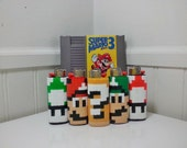 Super Mario Bros Perler Bead LIGHTER CASE - shy guy - snifit - mario - luigi - toad - item block - super mushroom