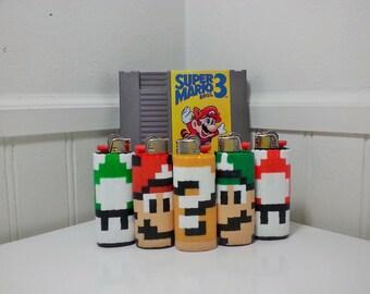 Super Mario Bros Perler Bead LIGHTER CASE - shy guy - snifit - mario - luigi - toad - item block - super mushroom