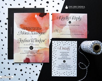 WATERCOLOR WEDDING INVITATION 3 Pc Suite RSvP Details Card Black & White Polka Dots Wine Red Elegant Free Shipping or DiY Printable- Mona