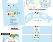 RAINBOW Party Printable Invitation and Set - Birthday Party  Decor - Cupcake Toppers, Bottle Labels & More - Print Your Own - DIY