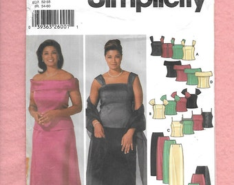Simplicity 5924 Women's Formal Top, And Skirt With Style Variation, Sizes 26W To 32W, UNCUT