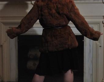 Furred Lines 1970s Vintage Hipster Festival Bohemian Reddish Brown Rabbit Fur Jacket Coat With Large Colar And Leather Belt Sz Medium