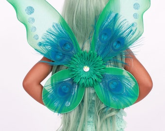 READY TO SHIP: Precious Peacock Wings - Teal Blue - Costume Accessory - Fits toddler to adult - Cutie Patootie Designz