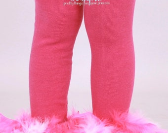 READY TO SHIP: Leg Warmers - Hot Pink Feather - Frilly Flamingo - Pink Flamingo Bird Costume Accessory - One Size - Cutie Patootie Designz
