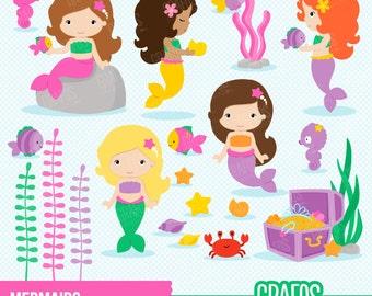 MERMAIDS - Digital Clipart Set, Mermaids Clipart, Summer Clipart ,Princess Clipart.
