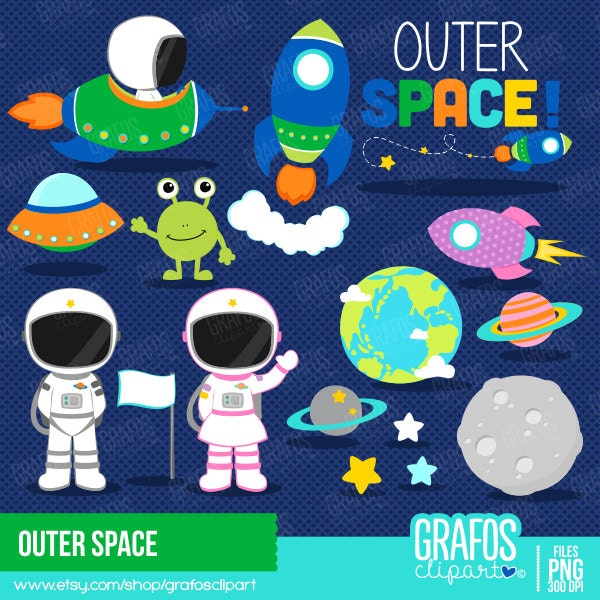 Outer space digital clipart set space clipart for Outer space design australia