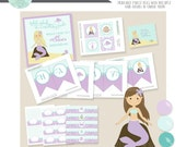 Purple Mermaid Birthday Party Package- Printable PDF files. Mystical mermaid collection with hair color of choice