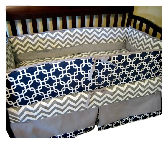 Baby Bedding Crib Boy Navy Gray