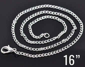 "12 Silver Curb Chain Necklaces - WHOLESALE - 2x3mm - 16""  - Ships IMMEDIATELY from California - CH477a"