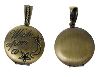 SALE Photo Locket - Wish Upon a Star - Antique Bronze - Holds 18.5mm Photo - Can Hold Rhinestones - Carved - 39x25mm -  - BC784