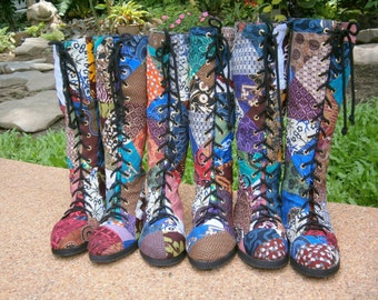 Vegan Womens Boots In Colorful Authentic Indonesian Batik Patchwork Boho Boots - Sadie