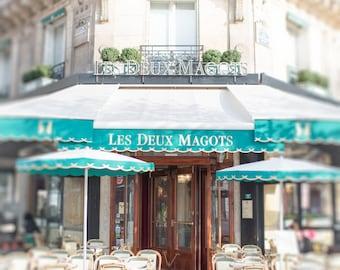 Paris Cafe Photograph, Les Deux Magots, Famous Paris Cafe, Large Wall Art, French Decor, Travel Fine Art Photograph