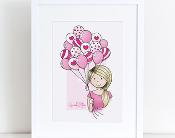 Cutie Pie with Balloons - 8x10 Art Print