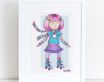 Roller Skate Cutie Pie - 8x10 Art Print - girl, child, skating, skater, pink hair, bright, fun, nursery, children, purple, turquoise, color
