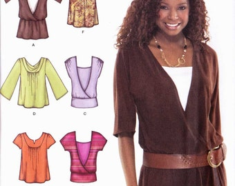 PATTERN Simplicity 3790 Set of knit tops mock wrap blouson hip band inset dolman sleeves cowl neck ruching with variations Size 6-14 Uncut