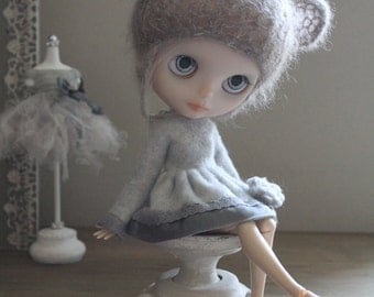 Grey Fleece, Lace and Silk Wrap Dress: for Blythe.