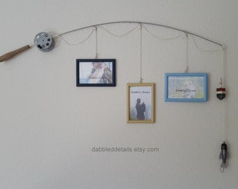Fishing Pole Picture Frame - Silver Pole - 3 - 4 in x 6 in Picture Frames - Deep Midnight Blue, Desert Sand, Baby Blue