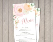 Vintage Floral Wedding Menu (Printable) DIY by Vintage Sweet