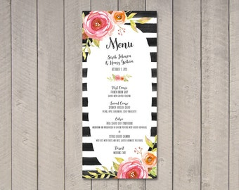 Floral & Stripes Wedding Menu (Printable) DIY by Vintage Sweet