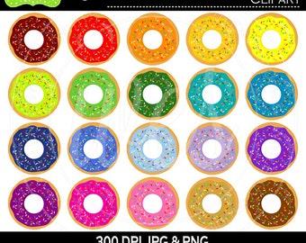 SALE  Donut Clipart - Rainbow Donut Clipart - Sprinkled Donuts Clipart - Rainbow Icing Donuts Clipart - Commercial Use