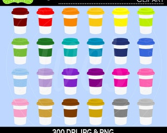 SALE  Coffee Cup Clipart - Rainbow Coffee Cup Clipart - To Go Coffee Cup Clipart - Beverage Clipart - Commercial Use
