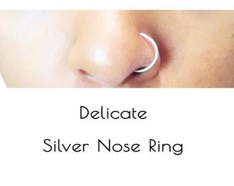 Fake Silver Nose Ring, Sterling Silver Fake Nose Ring, Delicate Nose Ring Hoop, Faux Nose Ring, No Pierce Nose Ring, Gift Under 15