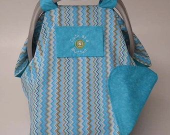 Baby Car Seat Cover READY TO SHIP Infant Car Seat Canopy Cute As A Button Turquoise Baby Car Seat Cover Peek-A-Boo Window